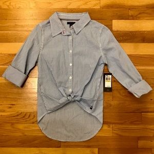 TOMMY GIRL Stripe Oxford Button Down
